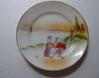 Vintage Porcelain Dutch Boy and Dutch Girl Plate