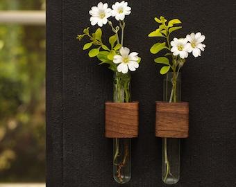 Bud vase - magnetic vase - flower vase - small vase - modern vases - rustic vase - test tube vase - home decor vase - wood gift