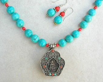 Collectible Silver Buddha Altar - Opens, Inlaid Stones, Top Quality Turquoise & Coral Beads, Necklace Set by SandraDesigns