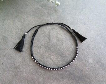 Handmade Balck Tassel bracelet / Cord bracelet / 925 silver bead bracelet / Tassel Bracelet / silver bead bracelet