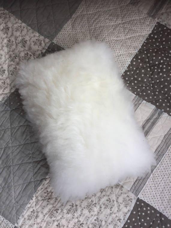 Sheepskin cushion handmade neck pillow for children white fur printed cotton backside