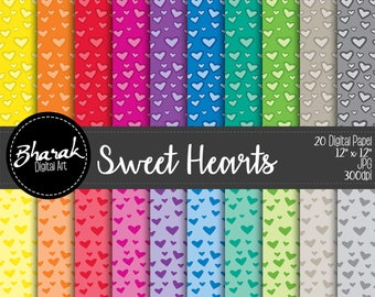 Sweet Hearts #1 Digital paper-Sweet heart digital paper #1-invitations-Love letters-Valentines-Love Colorful