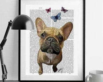 French bulldog print Butterflies french bulldog décor frenchie art cute frenchie cute french bulldog french bulldog poster frenchie lover