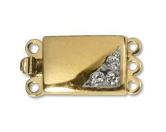 Elegant Elements Gold Plate CLSP33GP, Rectangular, With CZ crystals, Push Pull, 3 Strand Clasp 18mm x 9mm