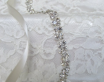 Silver Crystal Rhinestone Bridal Sash,Wedding Sash,Bridal Accessories,Bridal Belt,Style # 8