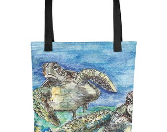 Watercolor Sea Turtles All Over Print Tote Bag