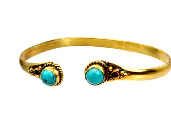 Stackable gold Cuff bracelet,TRIBAL Bangle Bracelet,Thin Vintage Adjustable bohemian cuff, gift for her,gemstone jewelry boho by Taneesi