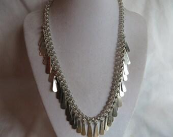 "18"" Vintage Silver Paddle Necklace, Necklace, Vintage, Silver, Paddle"