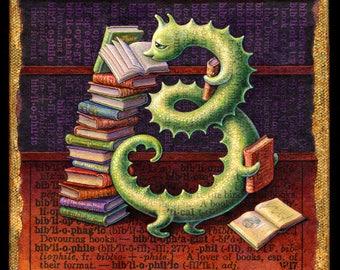 Bookworm art print, Bibliophile: Fantasy green book worm, books, bookshelves. Librarian, reader, booklover, student, teacher gift, literary