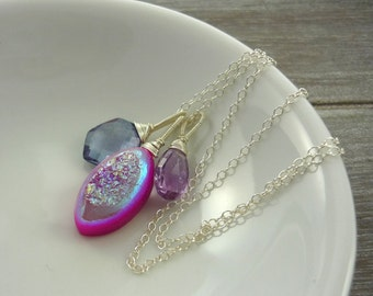 Sterling silver pink druzy pendant necklace. pink amethyst and blue quartz.