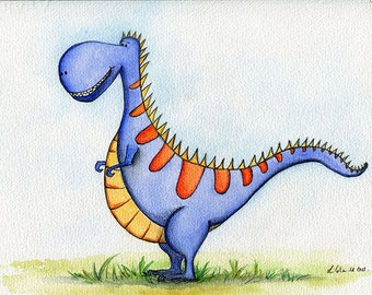 SET OF THREE Dinosaurs.  Giclee Print of an Original Watercolour Painting