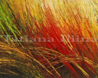 Abstract Art Palette Knife Original Painting Handmade Grass Meadow - by Tatiana Iliina - Made to order