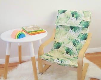 Children's ikea chair coverslip/poang cover/kids cover/tropical seat/kids decor/palm leaves bedroom/modern nursery/kids gift