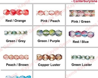 Preciosa Czech Glass Beads Fire Polished 6mm Faceted Round Two Tone Color - 1 Full Strand