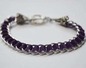 Genuine Purple Suede LeatherMaille Bracelet