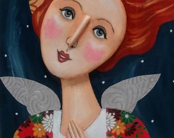 Original Folk Art Angel Painting, Inspirational Painting, Assemblage, Mixed Media Painting, Religious Art, Icon, Christmas Art