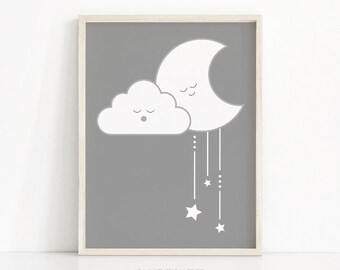 Gray Nursery Wall Art, Gender Neutral Baby Wall Art Printables, Cloud Nursery Print, Baby Art, Moon And Stars Nursery Art, Nursery Decor