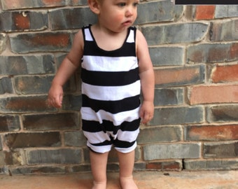Baby boy romper - Hipster baby clothes - Black white striped romper - Toddler romper, Girl romper - Hipster toddler outfit