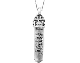 Silver amulet necklace Mosque Pattern Zamzam Water - IJ1-1644