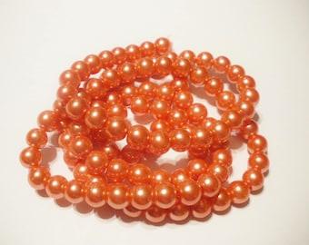 50 salmon orange 8 mm Pearl glass beads