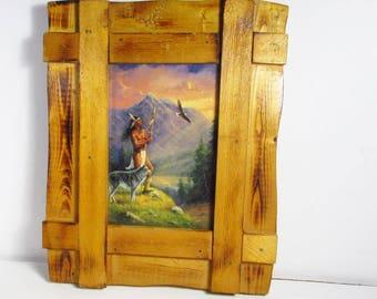 M Carolselli art amérindien impression fait à la main cadre en bois