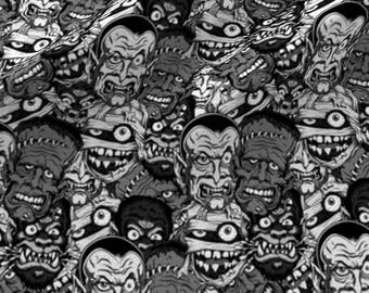Movie Monsters Fabric - Classic Movie Monsters Black and White By Sandityche - Halloween Monsters Cotton Fabric By The Yard With Spoonflower