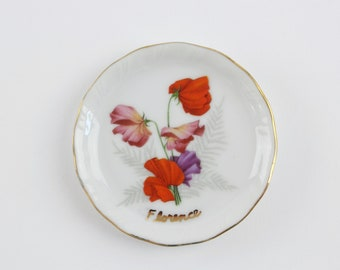 Vintage Porzellan Blume Trinket-Teller - Florenz Blume Ringschale signiert