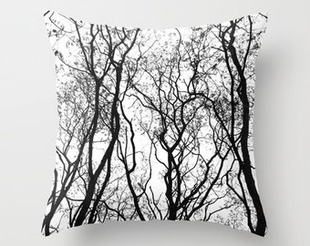 Tree Pillow, Rustic Home Decor, Nature Decor, Black and White Cushion Cover, Velvet Pillow, Woodland Decor, Cabin Pillows, Lake House Decor