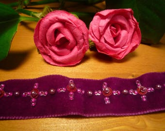 Stripe purple /perles velvet roses embroidered