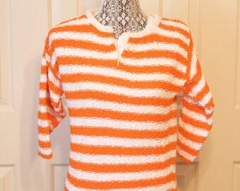 Vintage Women's sweater - 1970s Diane Von Furstenberg orange and white striped sweater