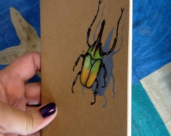 Bug Book - Green Scarab - Hand Painted Moleskine Pocket Journal