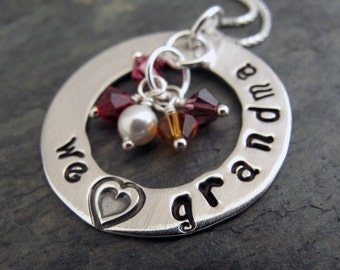 "We Love Grandma Necklace - 1"" Hand Stamped Personalized Sterling Silver Donut, Swarovski Birthstone Crystals"
