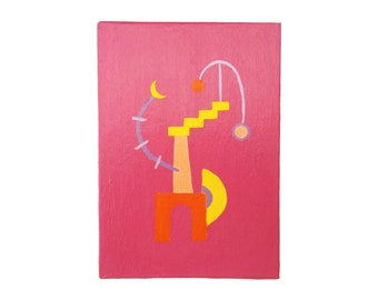 """Original Geometric Abstract Painting on Canvas Board (7"""" x 5"""")"""