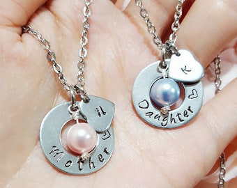 Personalized Mother Daughter Necklace Set, Swarovski Birthstone Pearl with Stamped Initials, Washer Heart Stamped Mother Daughter Necklace