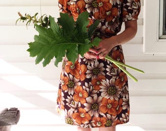 60's/70's Mod Retro Vintage Handmade Daisy Floral Mini Dress Festival Style Boho Dress Size S (Au 10)