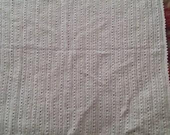 White wool knee rug