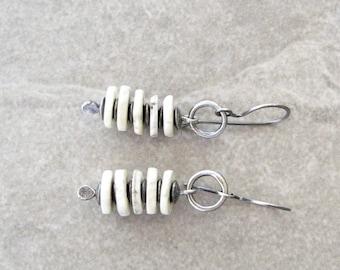 ostrich shell earrings, oxidized silver, sterling ear wires, boho white earrings