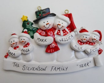 Personalized Snow Family of 6 Christmas Ornament - Personalized Free - Family of 6 Personalized Christmas Ornament