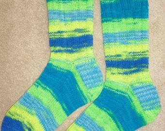 Hand Knit Womens or Mens Wool Socks - Regia Fluorescent Neon wool sock yarn (S-137)