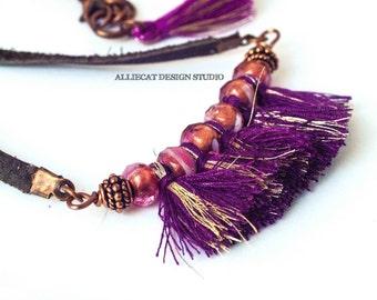 Bohemian Necklace | Boho Necklace | Gypsy Pink Purple Tassel Necklace