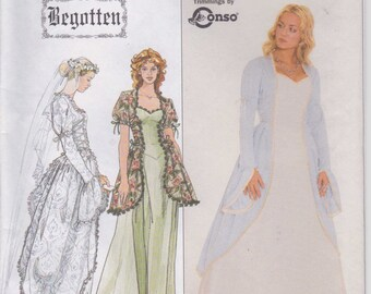 Historical Period Wedding Dress Pattern  Size 6 - 8 - 10 uncut Simplicity 8623 Bridal Gown