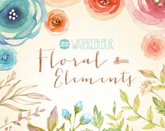 Watercolour Floral Elements: 22 Digital Clipart. Hand painted, watercolour floral, wedding diy elements, flowers, rose, invite, printable