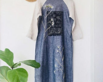 Embroidery Vietnamese long dress handmade, linen fabric, vintage style long dress, made to order, made just for you