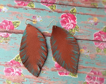 Leather Feather Earrings