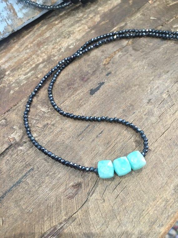 Amazonite & Black Spinel Necklace
