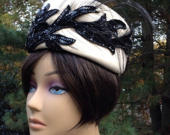 Vintage Wool Felt Pillbox Ivory Black Sequin Ostrich Feathers