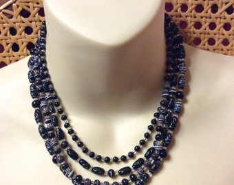 Vintage 1950's black murano glass multi strand beaded necklace. Japan