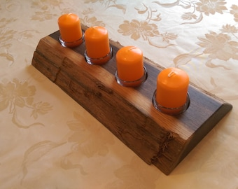 Natural wooden candle holder handmade with wane for tea lights in various variations free shipping to de