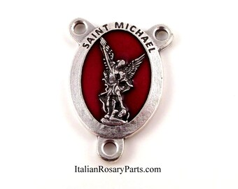 Saint Michael The Archangel Rosary Center Medal Red Enamel Background | Italian Rosary Parts