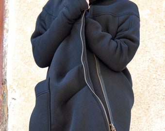 SALE NEW Lined Warm Asymmetric Extravagant Black Hooded Coat / Quilted Lined Cotton Jacket / Thumb Holes / Outside and Inside pockets A07177